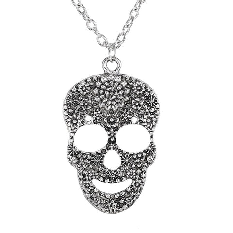 cool silver plated crystal skull necklace & pendant