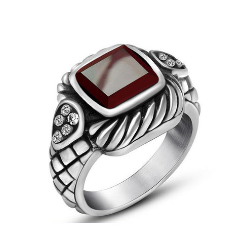 cool silver color stainless steel red stone ring for men
