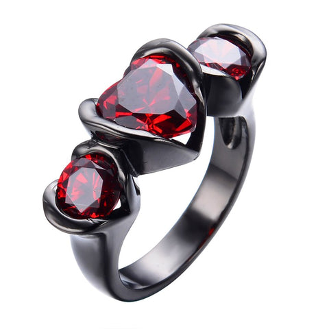 romantic 3 red heart shaped crystal stones black ring for women