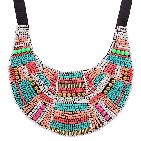acrylic beads big ethnic maxi statement necklace for women