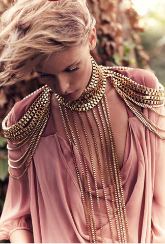 gold color shoulder chain body necklace for women