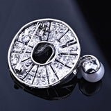 retro style imitation pearl round crystal brooch pin for women