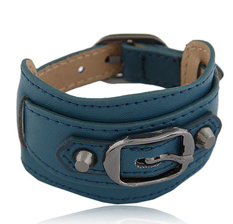 rivet wide cuff leather belt buckle punk bracelet & bangle