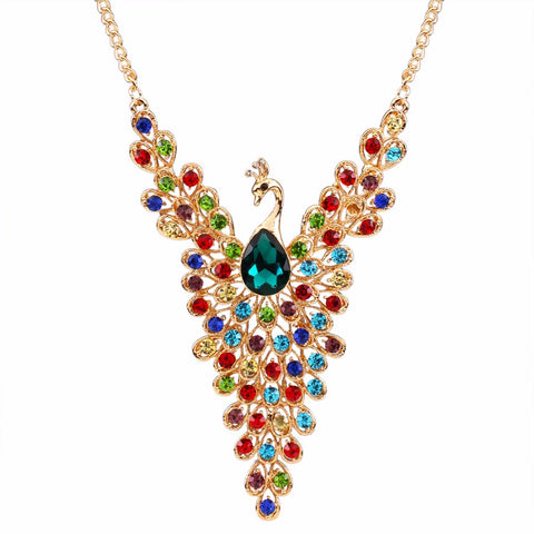 colorful rhinestone peacock pendant statement necklace