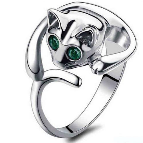 cute silver color with crystal eye cat shape ring for women