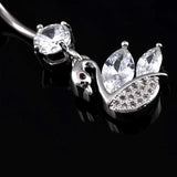 zircon swan dangle navel piercing belly button ring
