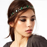 bright emeral crystal hair jewelry women adjustable headband