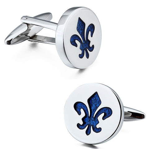 blue enamel round cufflinks for men