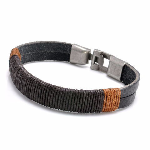 punk style hemp wrap leather weaving metal bracelet