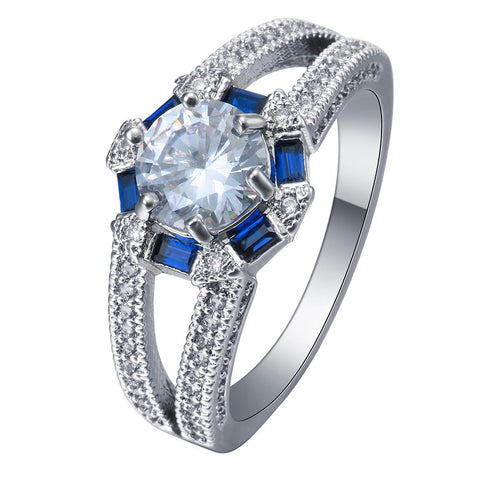 trendy silver plated blue rectangle cubic zircon ring for women