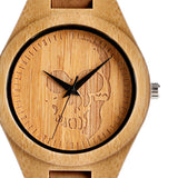 trendy bamboo wood skull pattern genuine leather watch for men