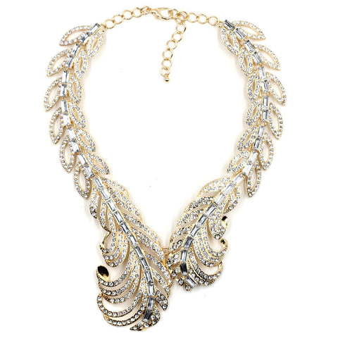 luxury crystal feather design statement necklace for women