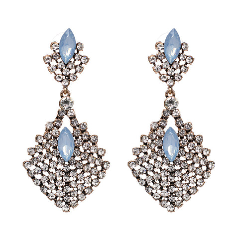 antique big design crystal stone stud earrings for women