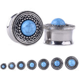 2pcs surgical steel blue opal stone piercing ear plug earrings