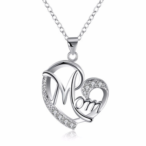 "silver plated ""Love Mom"" crystal pendant necklace for mother"