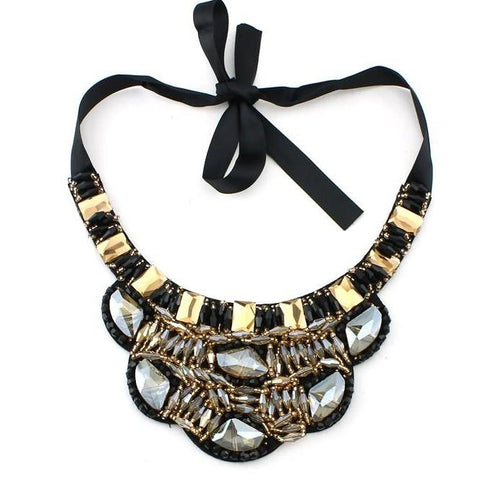trendy handmade bead crystal statement choker necklace