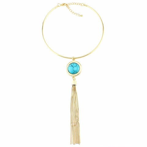 long tassel pendant statement choker necklace for women