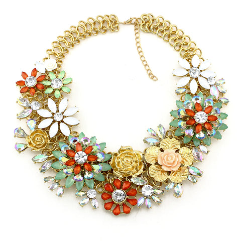 vintage flowers bib choker statement necklace for women