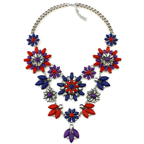 vintage big crystal statement necklace & pendant for women