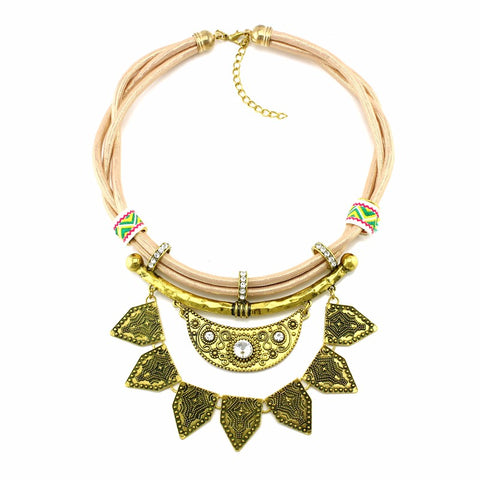 bohemia rope chain bib statement choker necklace for women
