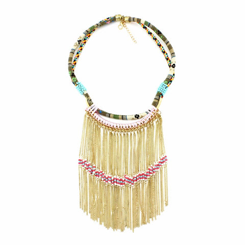 ethnic tassel chain statement necklace & pendant for women