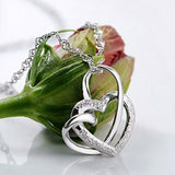 elegant silver plated double heart pendant necklace