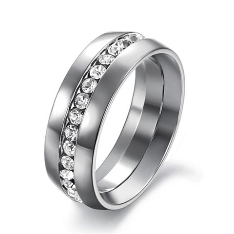 trendy cz crystal line stainless steel ring for women