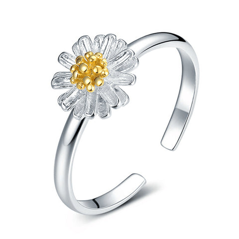 silver plated daisy flower shape ring for women