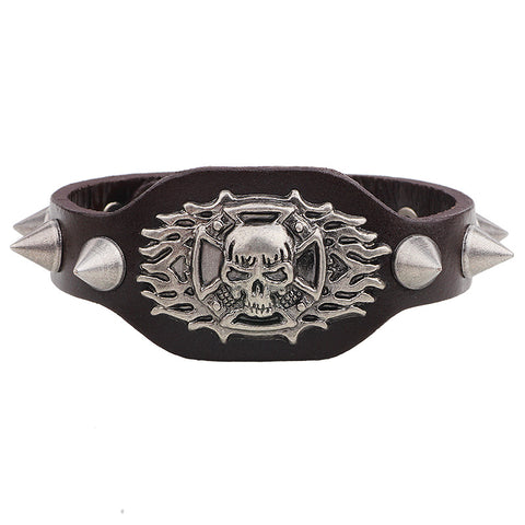punk style skull rivet leather wide bracelet for men