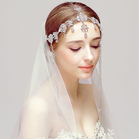 vintage romantic tiara tassel hair jewelry for women
