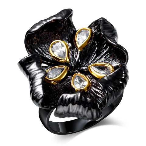trendy black color with cubic zircon stone flower ring for women