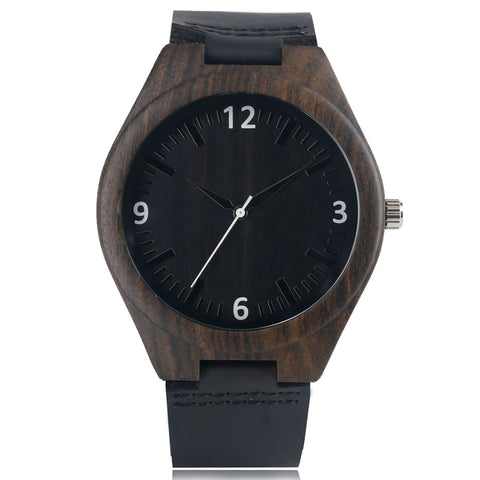 trendy dark bamboo wood dial leather band quartz wrist watch