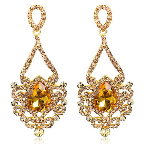 elegant gold plated crystal drop earrings for women