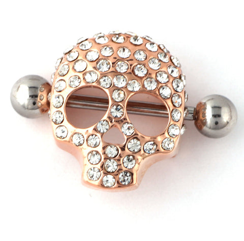 trendy crystal skull piercing nipple ring