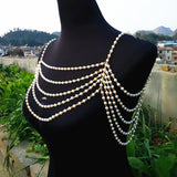 elegant multilayer pearl chain necklace pendant for women