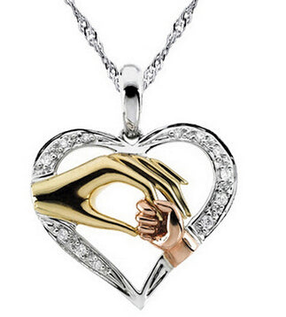 mom & baby cubic zirconia heart pendant necklace for women