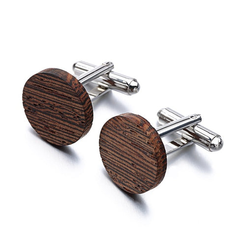 simple round wood cufflinks for men