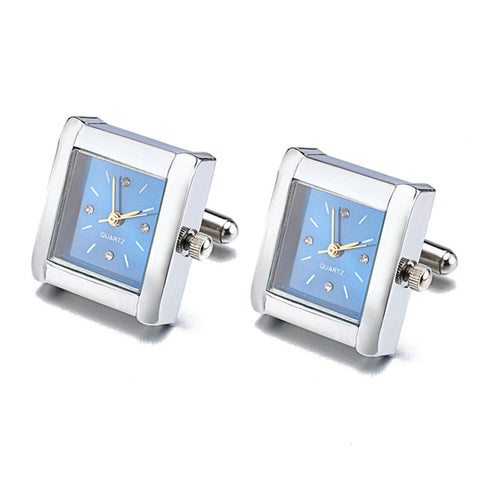 real clock with battery cufflinks for men
