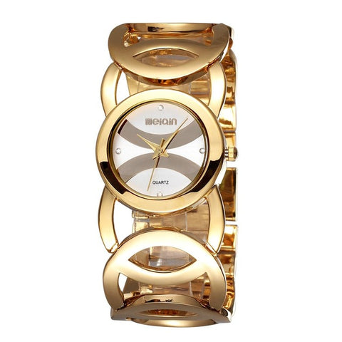luxury crystal dial hollow steel band wrist watch for women