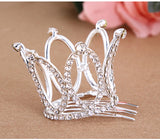 small girls clear stone crystal tiara crown hair bomb