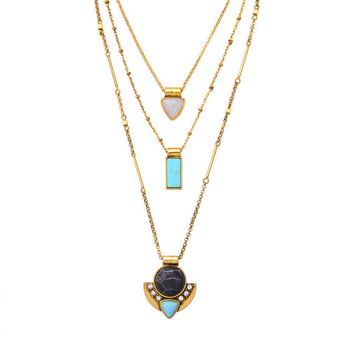 multi layer synthetic stone necklace & pendant