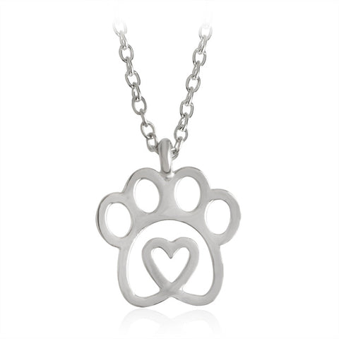 gold/silver color love & paw pendant necklace