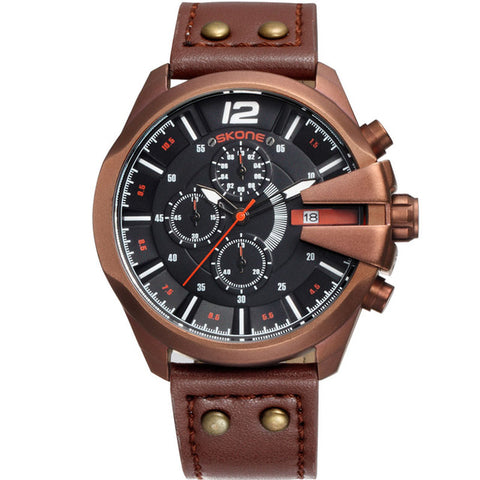 cool big chronograph dial leather band quartz watch for men