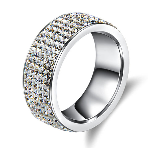luxury 5 rows crystal stainless steel ring for women