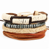 4pcs set punk genuine wrap leather bracelet