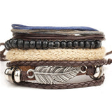 4pcs set punk genuine wrap leather bracelet - very-popular-jewelry.com
