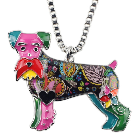 schnauzer terrier dog pendant chain necklace for women