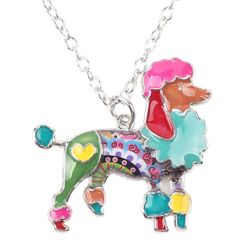 enamel poodle dog pendant chain necklace for women