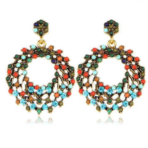 colorful hollow rhinestone round beads earrings for women