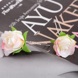 6pcs/set romantic rose flower hair pin for women
